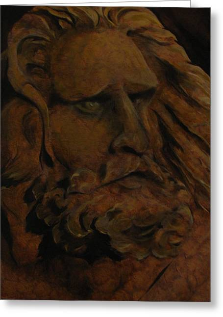 Statue Portrait Paintings Greeting Cards - Moses Greeting Card by Sherry Robinson