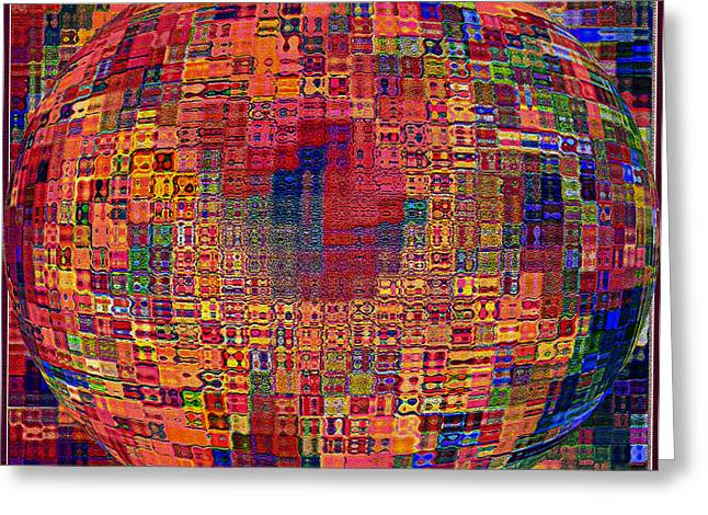 Mosiac Greeting Cards - Mosiac Sphere Greeting Card by Mindy Newman