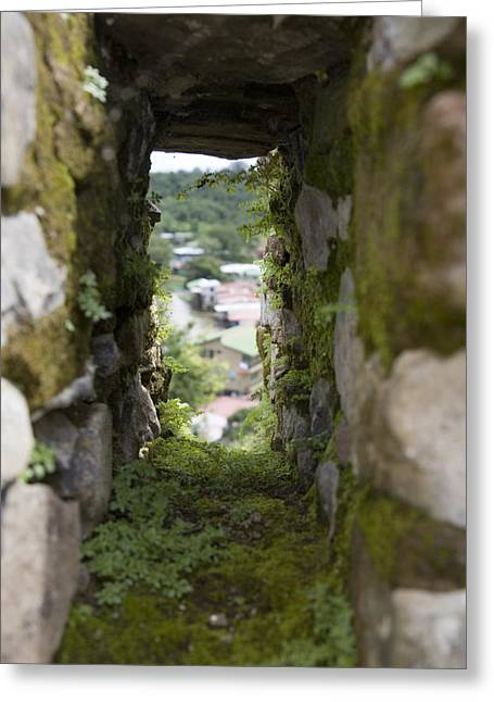 El Castillo Greeting Cards - Moss Covered Battlement Hole In Ancient Greeting Card by David Evans