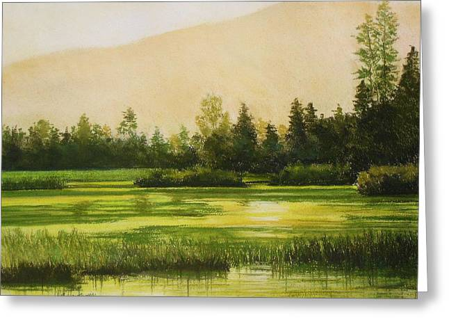 Moss Pastels Greeting Cards - Mossy Lake at Dawn Greeting Card by Mark Henthorn