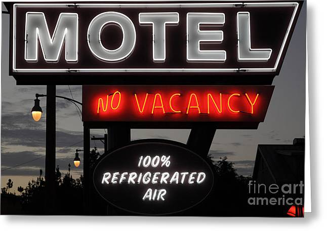 Disney California Adventure Park Greeting Cards - Motel - No Vacancy - 5D17747 Greeting Card by Wingsdomain Art and Photography