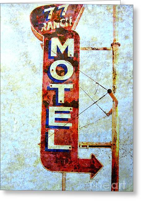 Vintage Style Photograph Greeting Cards - Motel 77 Sign Greeting Card by Ann Powell