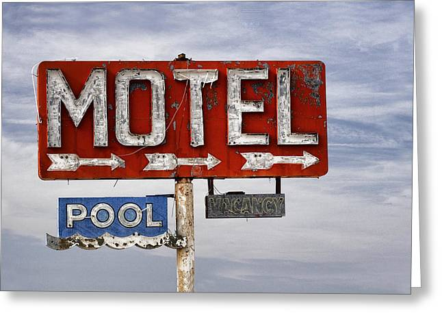 Grungy Greeting Cards - Motel and Pool Greeting Card by Carol Leigh