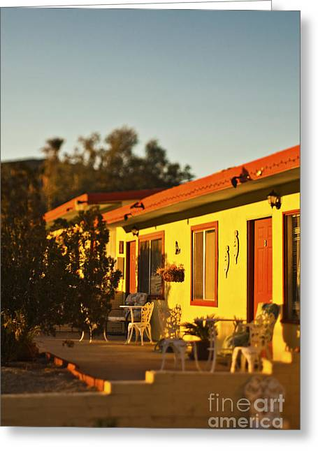 Sunrise Over California Greeting Cards - Motel at Sunset Greeting Card by Eddy Joaquim