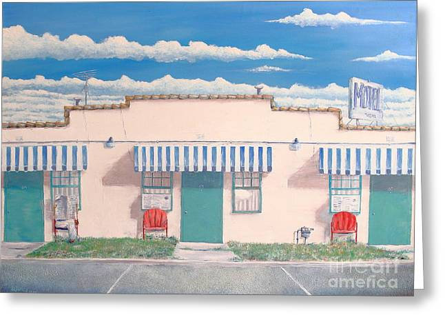 Roadside Architecture Greeting Cards - Motel Six . 1989 Greeting Card by Wingsdomain Art and Photography