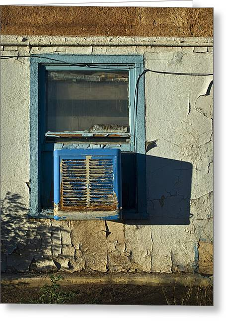Air Conditioner Greeting Cards - Motel Window Greeting Card by Murray Bloom