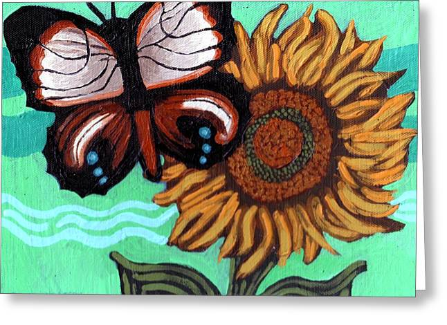 Canvas Panel Greeting Cards - Moth and Sunflower Greeting Card by Genevieve Esson
