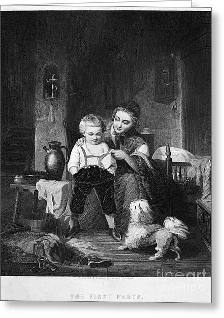 Recently Sold -  - Engraving Greeting Cards - Mother And Child, 1850 Greeting Card by Granger