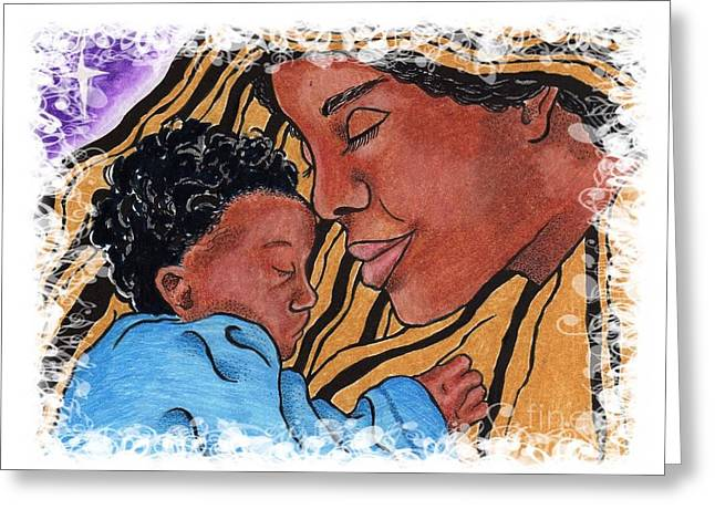 African-american Drawings Greeting Cards - Mother and Child Greeting Card by Angela Charles