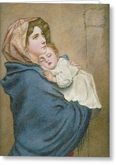 Sleeping Paintings Greeting Cards - Mother and Child Greeting Card by English School