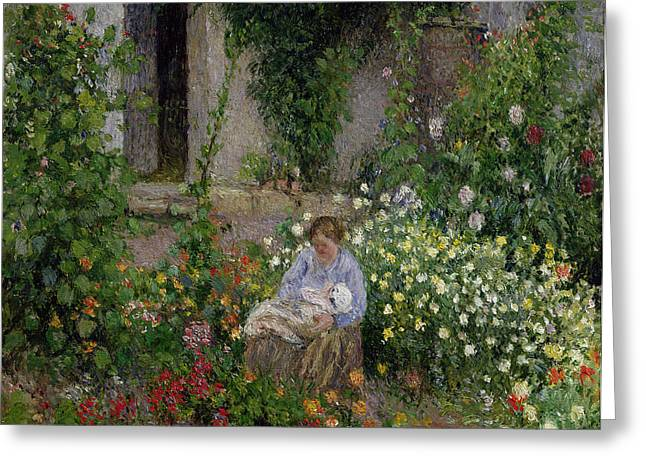 Roses Paintings Greeting Cards - Mother and Child in the Flowers Greeting Card by Camille Pissarro