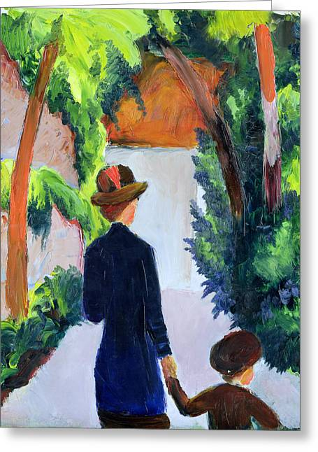 Walk The Line Greeting Cards - Mother and Child in the Park Greeting Card by August Macke
