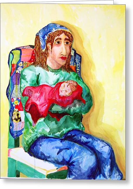Jame Hayes Paintings Greeting Cards - Mother and Child Greeting Card by Jame Hayes