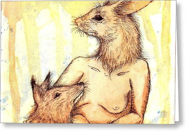 Feed Drawings Greeting Cards - Mother and Child Greeting Card by Jenn Page