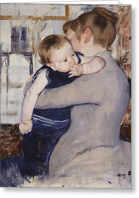 Sucking Greeting Cards - Mother and Child Greeting Card by Mary Stephenson