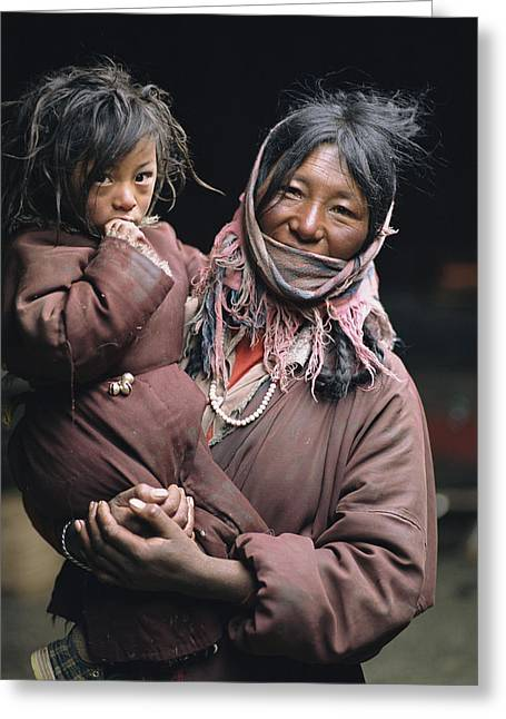 Sichuan Province Greeting Cards - Mother And Child, Nomads Near Litang Greeting Card by David Edwards