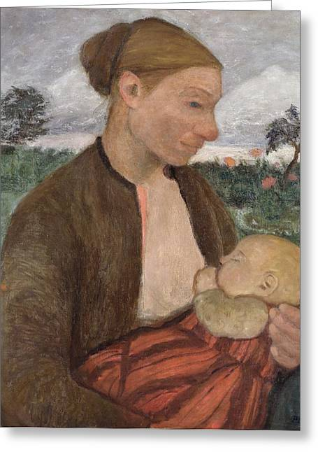 Breast Feeding Greeting Cards - Mother and Child Greeting Card by Paula Modersohn Becker