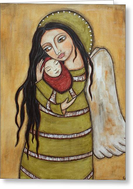 Acrylic Pastels Greeting Cards - Mother and Child Greeting Card by Rain Ririn