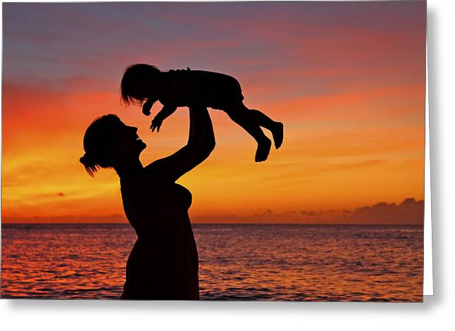 Vince Greeting Cards - Mother and Child Sunset Silhouette Greeting Card by Vince Cavataio - Printscapes