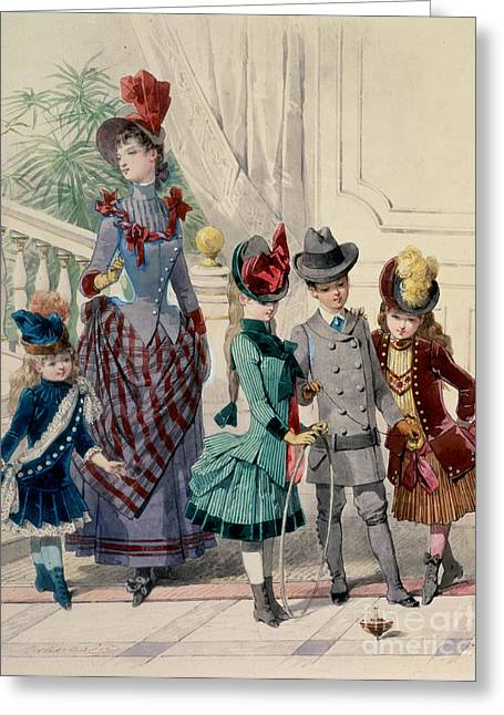 Dash Greeting Cards - Mother and children in indoor costume Greeting Card by Jules David