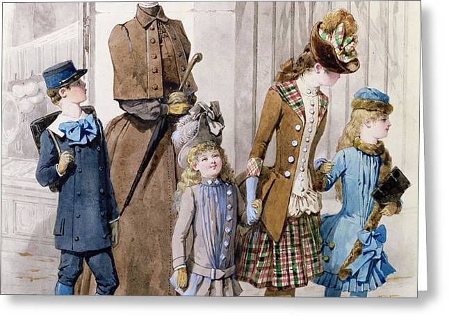 Mother and children in walking dress  Greeting Card by Jules David