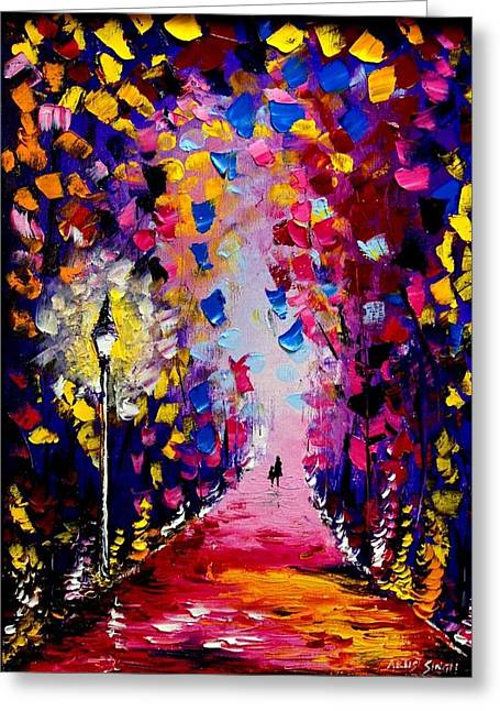 Pallet Knife Greeting Cards - Mother And Daughter Greeting Card by Artist  Singh