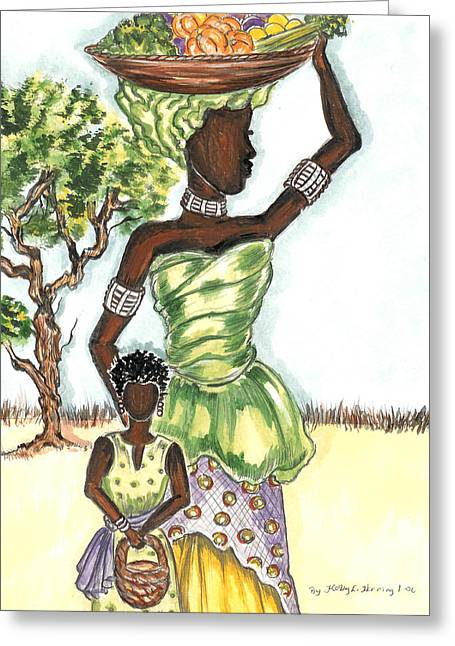 Shower Head Greeting Cards - Mother and Daughter Greeting Card by Kathy-Lou