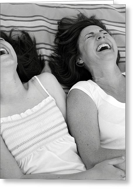 Caucasian Appearance Greeting Cards - Mother And Daughter Laughing Greeting Card by Michelle Quance