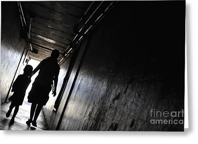 Bonding Greeting Cards - Mother and daughter walking in a dark corridor Greeting Card by Sami Sarkis