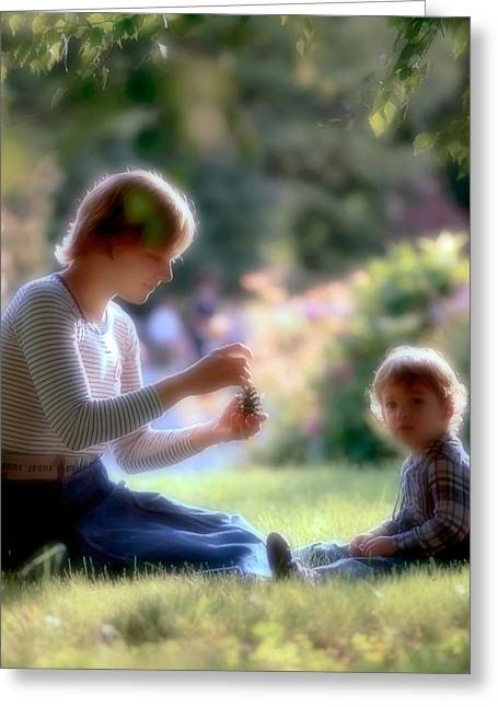Caring Mother Greeting Cards - Mother and kid Greeting Card by Juan Carlos Ferro Duque