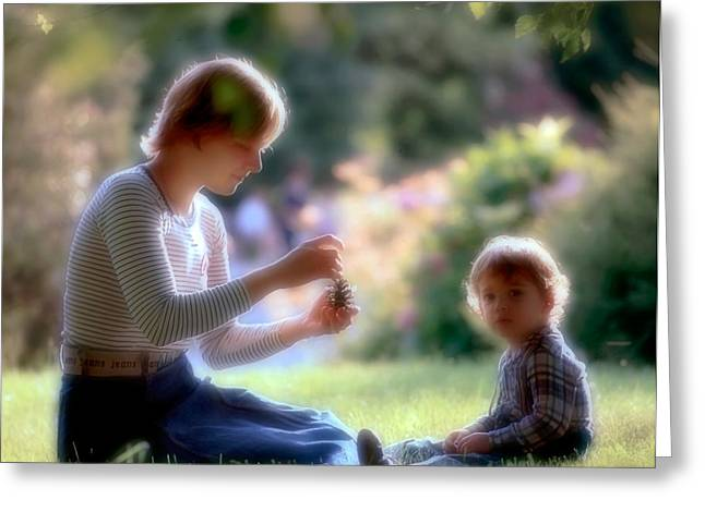 Mother and kid Greeting Card by Juan Carlos Ferro Duque