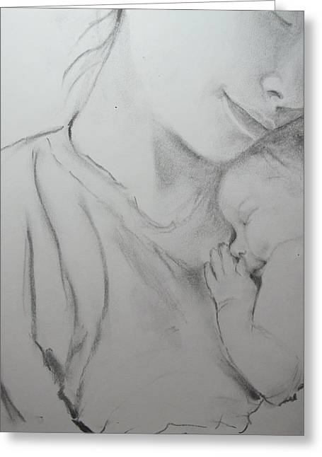 Bonding Drawings Greeting Cards - Mother and Sleeping Child Greeting Card by Sheila Gunter