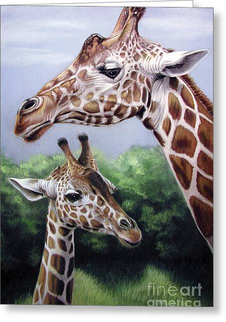 Son Pastels Greeting Cards - Mother and son Greeting Card by Deb LaFogg-Docherty