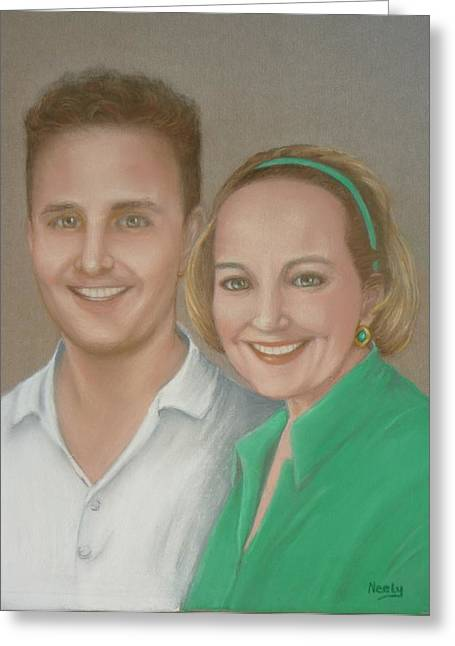 Young Lady Pastels Greeting Cards - Mother and Son Greeting Card by Pat Neely