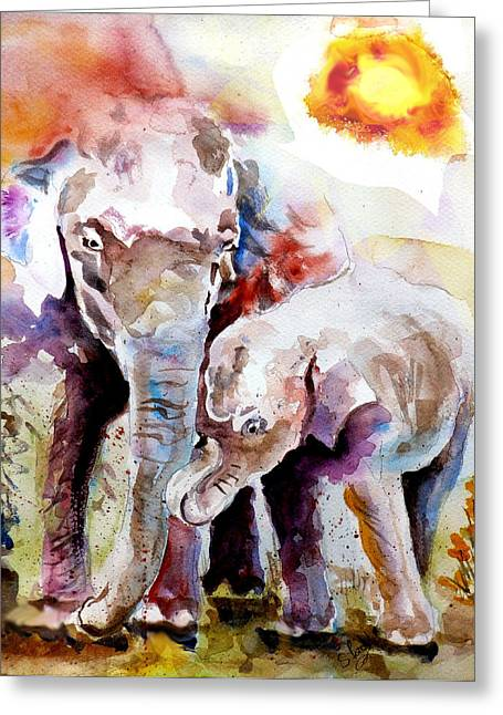 Fine_art Greeting Cards - Mother And Son Greeting Card by Steven Ponsford