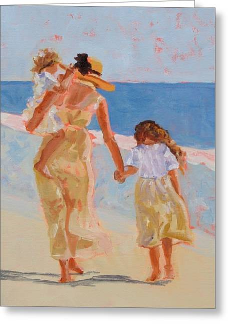 Ocean Shore Greeting Cards - Mother and Two Daughters Greeting Card by Molly Wright