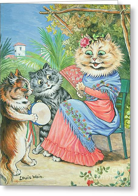Anthropomorphic Greeting Cards - Mother cat with fan and two kittens Greeting Card by Louis Wain