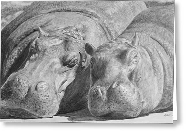 Hippopotamus Drawings Greeting Cards - Mother-Daughter Time Greeting Card by Heather Ward