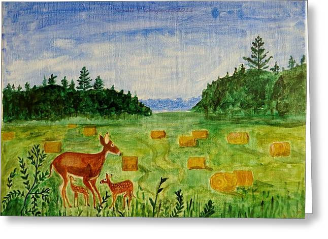 Mother Deer And Kids Greeting Card by Sonali Gangane