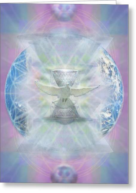 Chalice Greeting Cards - Mother Earth Dove and Chalice Greeting Card by Christopher Pringer
