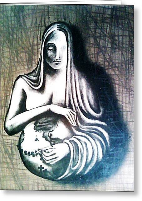 Best Sellers -  - Rosary Greeting Cards - Mother Earth Greeting Card by Paulo Zerbato