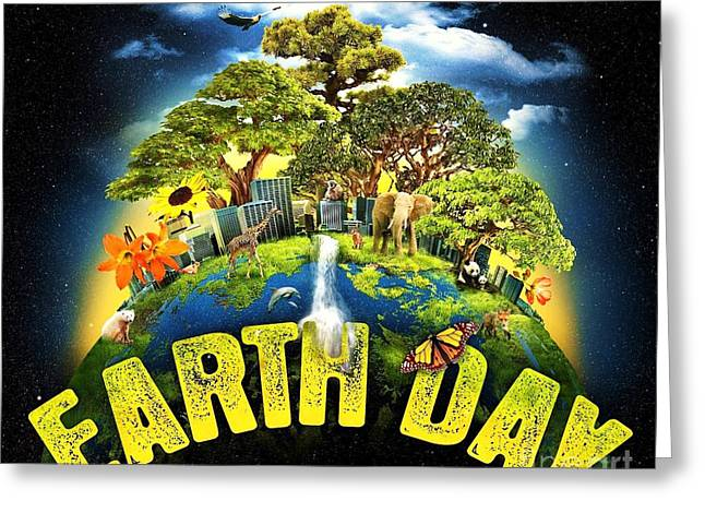 Planet Earth Drawings Greeting Cards - Mother Earth Greeting Card by Pg Reproductions