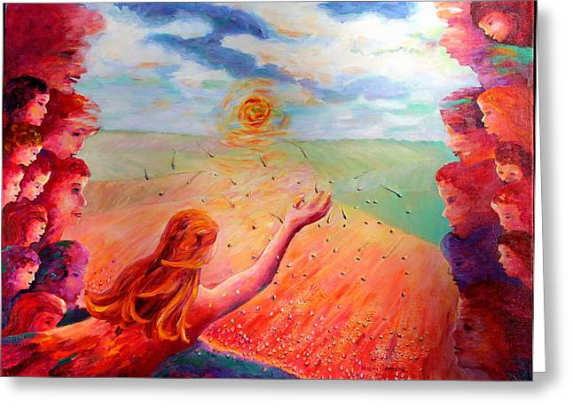Mother Earth Seeding the Prairies Greeting Card by Naomi Gerrard