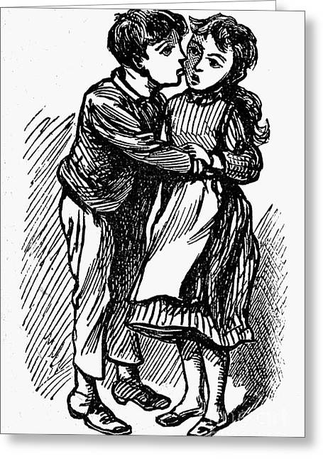 Nursery Rhyme Photographs Greeting Cards - Mother Goose: Kiss Greeting Card by Granger