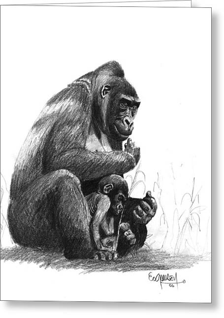 Love The Animal Drawings Greeting Cards - Mother Gorilla And The Baby Greeting Card by Eduardo Crowder