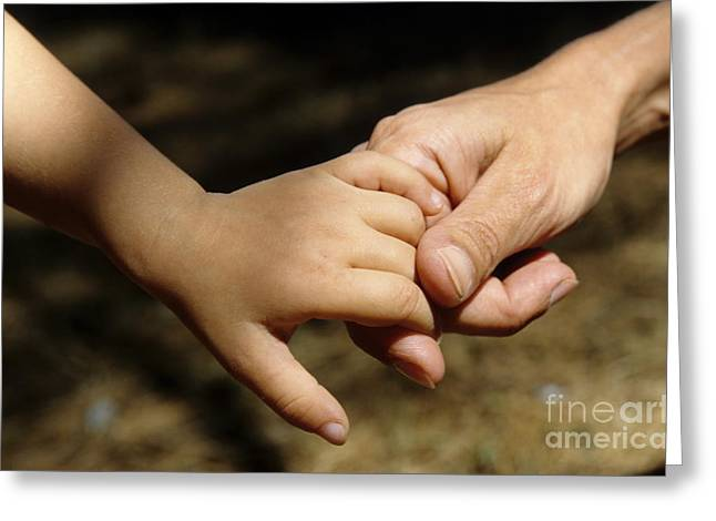 Family With One Child Greeting Cards - Mother holding baby daughters hand Greeting Card by Sami Sarkis