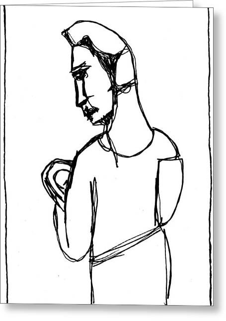 Expressionist Greeting Cards - Mother Holding Baby Drawing A6 Greeting Card by Anon Artist