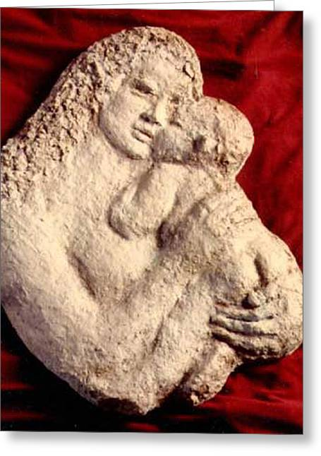 Mother Sculptures Greeting Cards - Mother Holding Child Greeting Card by Beverly Barris