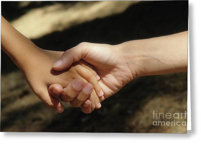 Caring Mother Greeting Cards - Mother holding sons hand Greeting Card by Sami Sarkis