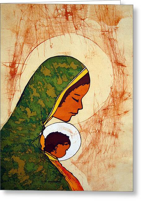 Mary Tapestries - Textiles Greeting Cards - Mother Mary Greeting Card by Joseph Kalinda